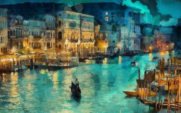 Night canal lights house gondola italy painting
